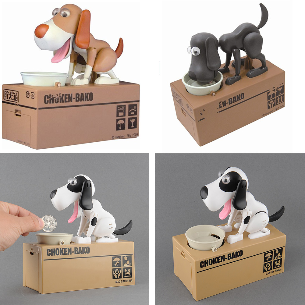 Quality Mechanical Adorable Puppy Hungry Robotic Eating Dog Kid Coin