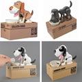 Quality Mechanical Adorable Puppy Hungry Robotic Eating Dog Kid Coin Bank Saving Box Piggy Bank Gift