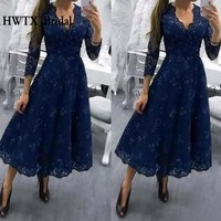Tea Length Plus Size Lace Mother Of The Bride Dresses Long Sleeves A Line Royal Blue 2018 Prom Formal Dress Evening Gown Cheap