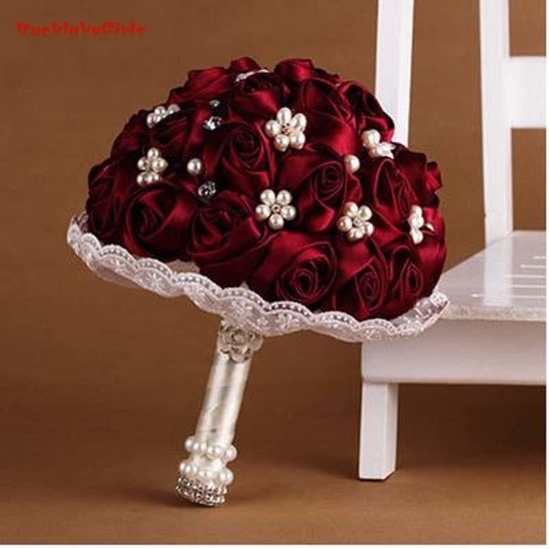 Fleurs de mariage vin rouge Royal bleu demoiselle d'honneur Bouquets de mariée artificielle Rose mariage Bouquet 2018
