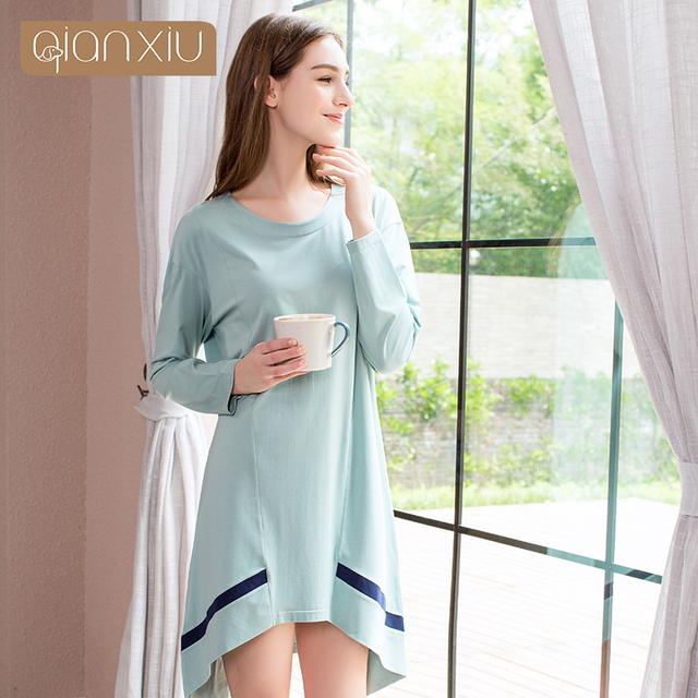 Spring Nightwear Female Casual Irregular edge nighty dress Ladies 95%Cotton  Nightgown Women Long Sleeve Round collar sleepshirts e870fffea
