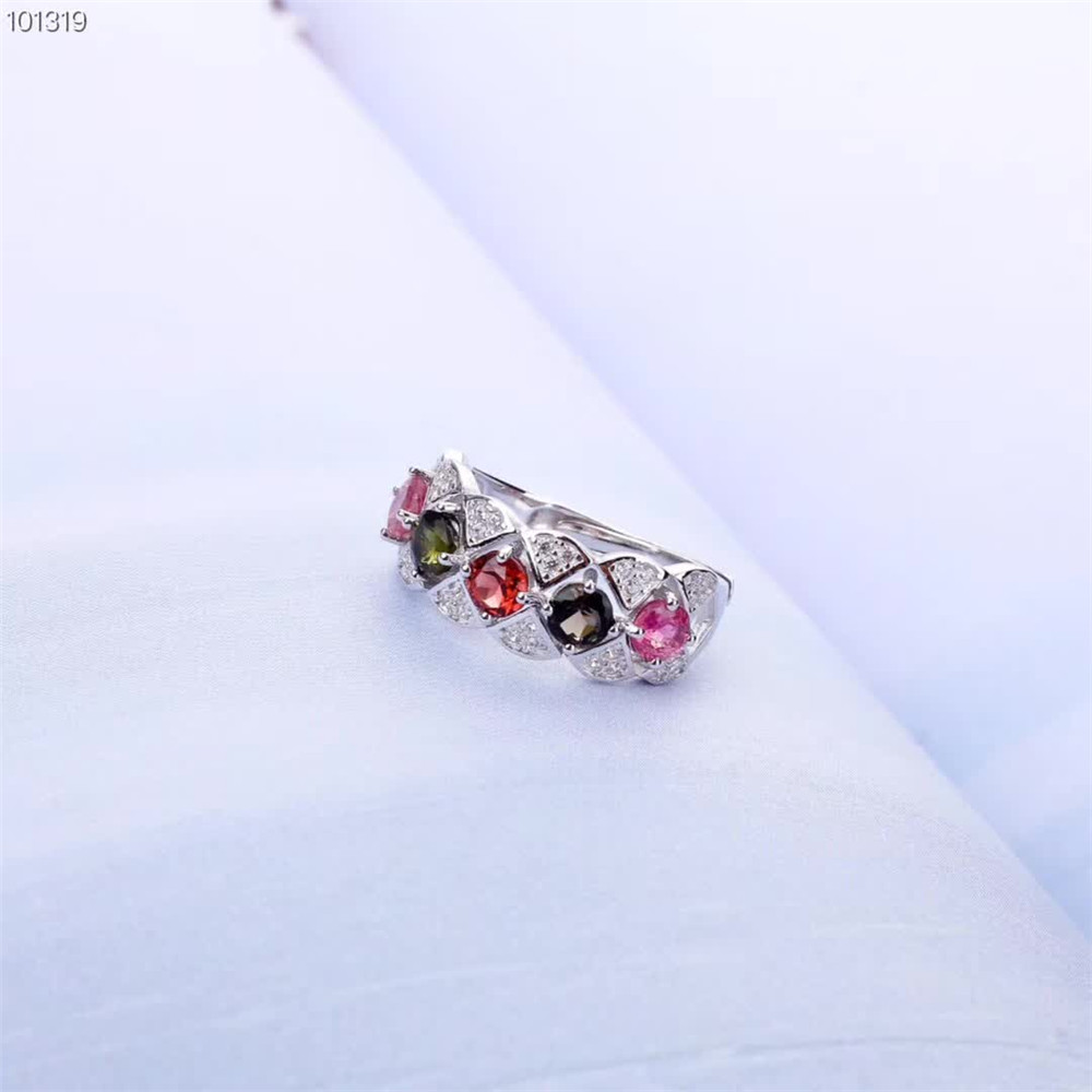fashionable unique designed 925 sterling silver natural colorful necklace pendant ring tourmaline jewelry set for women in Jewelry Sets from Jewelry Accessories