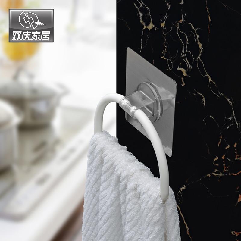 Silné Magic Flexibilní nálepka Plastové ručníky kroužek držák pro koupelnu ručník Rack