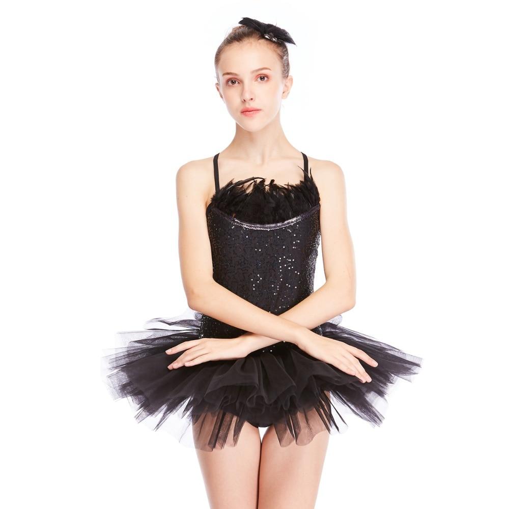 MiDee Black Swan Ballet Tutu Dress Feather Trimmed Neckline Sequins Leotard with Tutu Skirt Dance Costumes 2 Pieces
