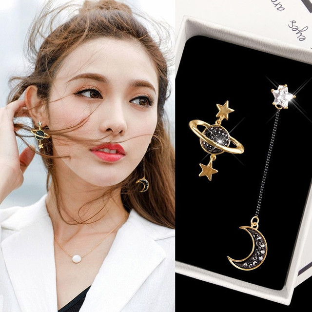 Asymmetrical Star Moon Exquisite Earrings
