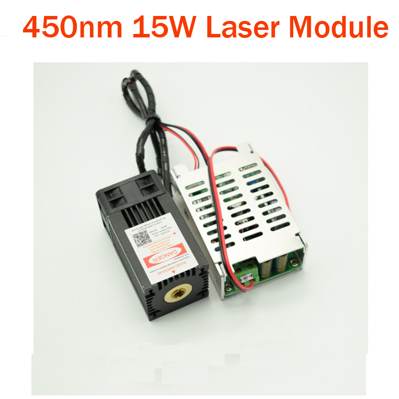 450nm 15000mw Blue <font><b>Laser</b></font> Module <font><b>15W</b></font> DIY <font><b>Laser</b></font> Machine Parts <font><b>Laser</b></font> <font><b>Diode</b></font> Tube Cooling Fan with TTL Driver Focus not Adjustable image