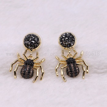 5 Pairs Spider earrings inscets fly Bee earrings with studs Gift for lady insect earrings colorful jewelry Earrings 3058 фото