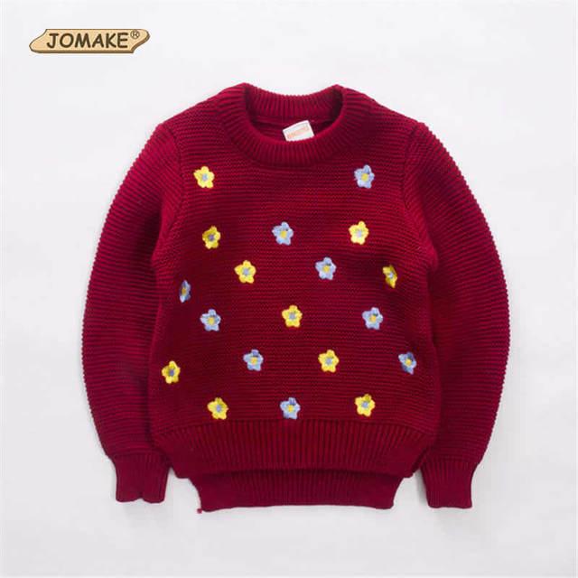 2017 Nuevo Estilo de la Princesa de los Bebés Floral Bordado Sweaters O-cuello Niños Tops de Punto Infantil Ropa de Los Niños Ocasionales