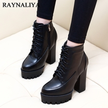 New Autumn Winter Women Fashion Ankle Boots High Quality Solid Lace-up Ladies Shoes Genuine Leather Boots Black CH-A0002 xgvokh women short boots autumn winter genuine leather fashion high quality ankle boots zip women s black shoes