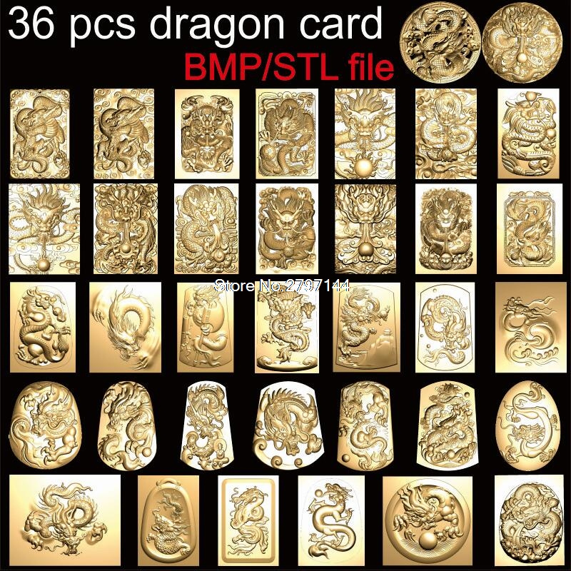 36 Pcs Dragon Cards 3d Model STL Relief For Cnc STL Format 3D Printing Model Source File Stl Relief Artcam Vectric Aspire