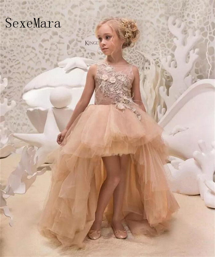 Flower Girl Dresses 2018 High Low Lace Applique Children Party Gowns Champagne Feather Pageant Dresses Custom Any Size fashion summer new tide brand men s jeans straight embroidered holes jeans men denim blue ripped jeans trousers