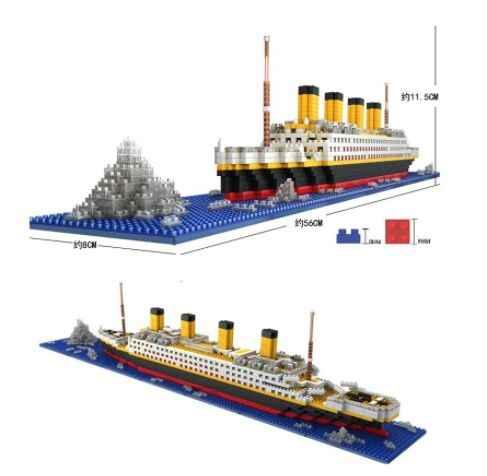 1860pcs compatibile Legoinglys RS Titanic Modello di Nave Da Crociera Barca FAI DA TE Blocchi di Costruzione di Mattoni Kit Per Bambini giocattoli Per Bambini Regali Di Natale