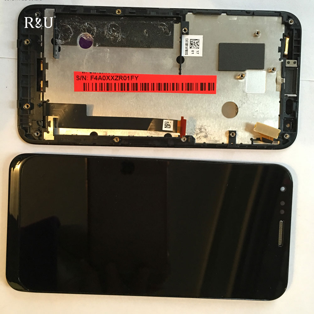R&U test good led lcd screen display touch screen digitizer assembly with frame For ASUS PADFONE E A68m
