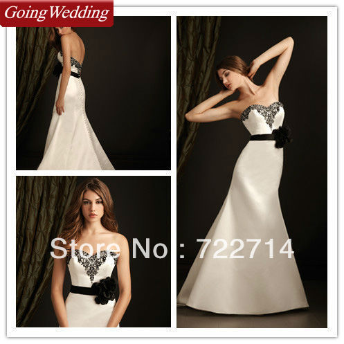 45209bc09 Strapless Sweetheart Corset White and Black Satin Maid of Honor Wedding  Dresses