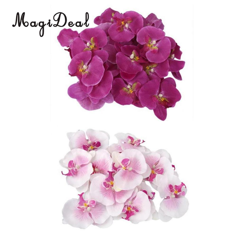 MagiDeal 40x Artificial Butterfly Orchid Corsage White Purple Flower ...