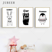Black and White Painting Simple Animal Poster Rabbit Cat Penguin Wall Art Canvas Prints Children Baby Bedroom Decoration