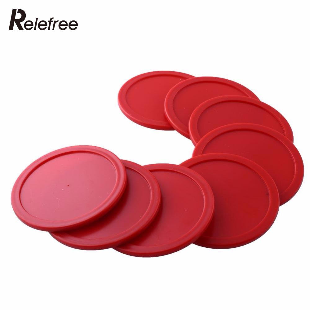 8 Pcs 63mm Red Air Hockey Children Table Mallet Puck Goalies Air Hockey Pucks Ice Pucks Table Game Party Tools Entertainment
