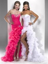 2017 New Sexy Short Front Long Back Wedding Dresses Sweetheart Organza Beading HI_LO Bridal Gown Sexy Vestido De Novia