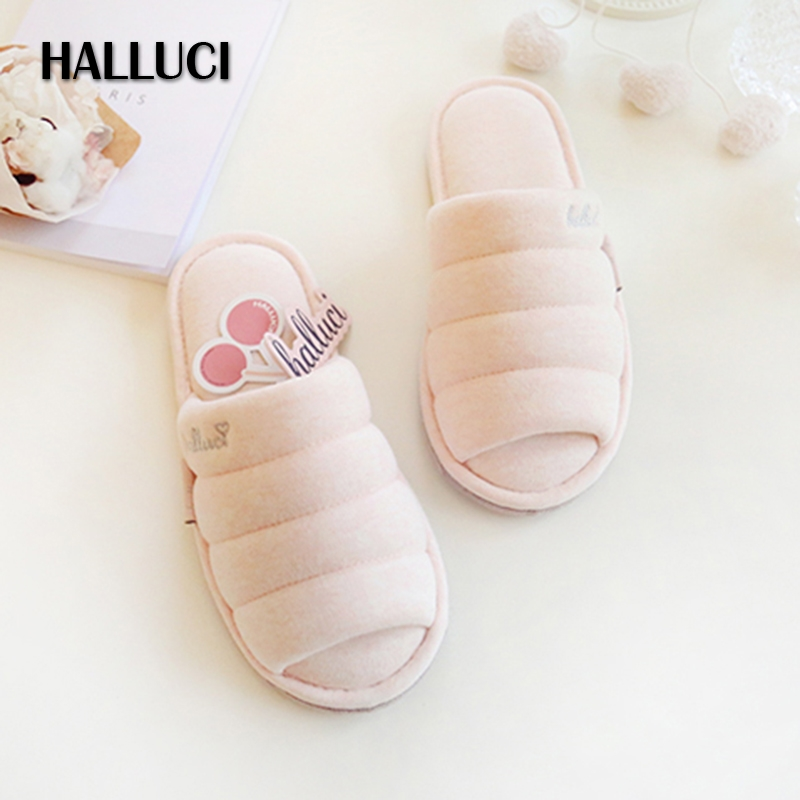 HALLUCI winter candy color cotton home slippers women Wood floor faux suede bottom indoor shoes simple couples house shoes halluci breathable sweet cotton candy color home slippers women shoes princess pink slides flip flops mules bedroom slippers