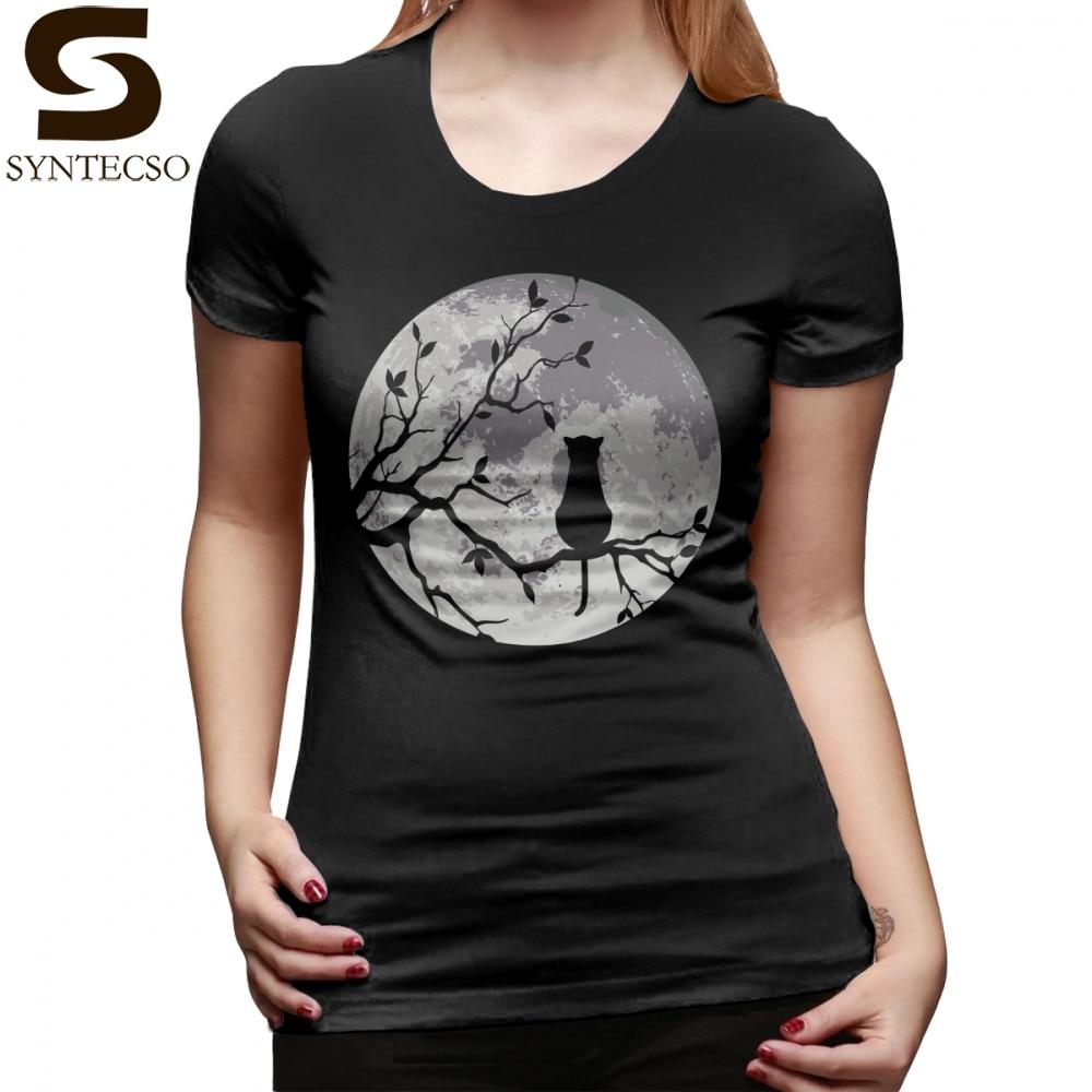 Otaku T-Shirt The Cat And The Moon T Shirt Printed Summer Women tshirt Oversize O Neck Short Sleeve Funny Ladies Tee Shirt