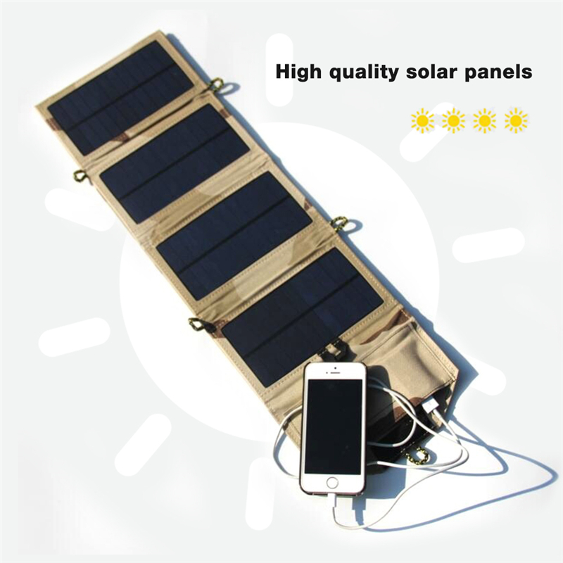 Image 4 - Portable folding 7W Solar Panel 5V USB Output Portable Foldable Power Bank Solar Charger for Outdoor Smartphone Solar Powerbank-in Power Bank from Cellphones & Telecommunications