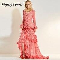 FlyingTown runway dress 2017 projektant mody kobiety z długim rękawem biały/czerwona chusta ciasto wieczór słodka dziewczyna party Księżniczka ubrania