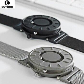¡Nuevo estilo 2018! Reloj de pulsera EUTOUR para hombre con bola magnética, relojes de pulsera Innovate, reloj de cuarzo con correa de nailon a la moda erkek kol saati