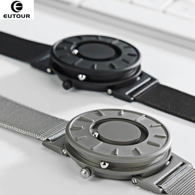 2018 neue Stil Uhr Männer EUTOUR Magnetische Kugel Zeigen Innovate Armbanduhren Herren Nylon Strap Quarzuhr Mode erkek kol saati