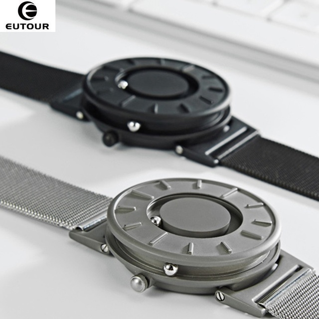 2018 nuevo estilo reloj hombres EUTOUR bola magnética mostrar innovar relojes para hombre correa de Nylon moda reloj de cuarzo erkek kol saati