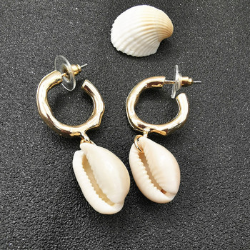 JCYMONG Sea Shell Earrings For Women Gold Silver Color Metal Shell Cowrie Statement 3