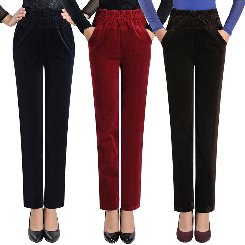 Fashion Middle-aged Women's Autumn And Winter High Waist Casual Trousers Large Size Solid Color Corduroy Stretch Pants JQ261