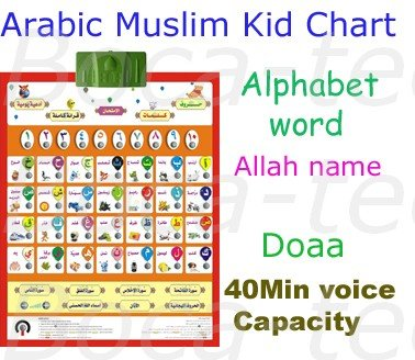 Free Shipping 9pcs Arabic Talking Alphabet Chart With Number Words Quran Doaa