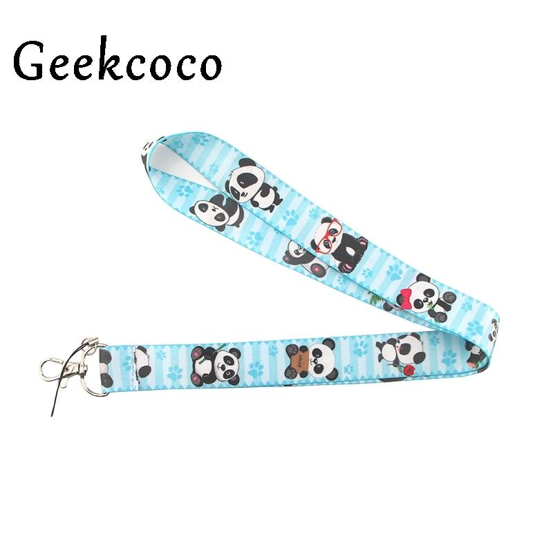 Cute Anime panda animal cartoon lanyard cell phone cord neck strap for keys ID Card USB badge stand DIY rope pendant J0432