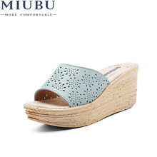 MIUBU Women Summer Slides Fashion Leisure Shoes Women Platform Wedges Peep Toe Sandals Thick Slippers Leather Casual Slippers wedges slippers women 2018 slides sandals shoes women genuine leather closed toe handmade comfortable women flat shoes