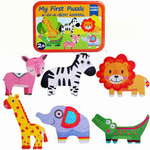 Free shipping Baby Wooden Jigsaw Puzzle toy children Cartoon animal puzzle, My First 6-IN-A-BOX  Animal classic toy/gift