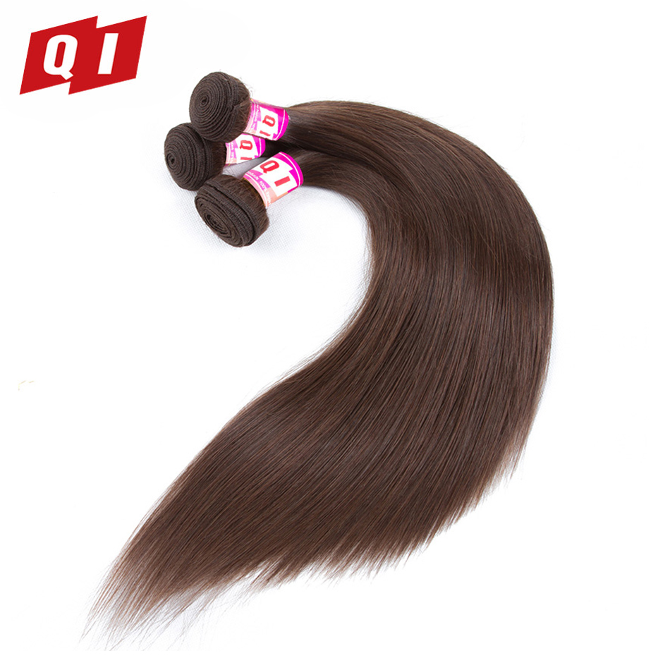 QI Hair 3 Bundles #4 Peruvian Straight Hair Weave Bundles 100% Human Hair Extensions Non Remy 10-24 Inches Can Be Dyed