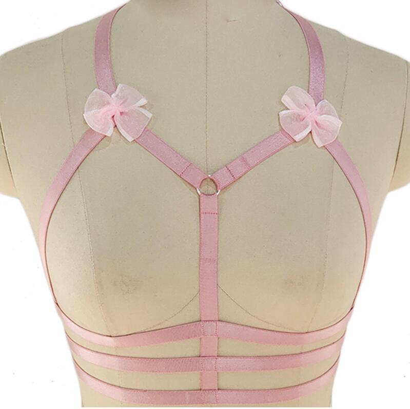 Дизайн розовый воротник бантик Жгут Бюстгальтер Kawaii Открытая грудь Связывание клетка для тела пастельный Готический пояс для тела - Цвет: Harness Bra