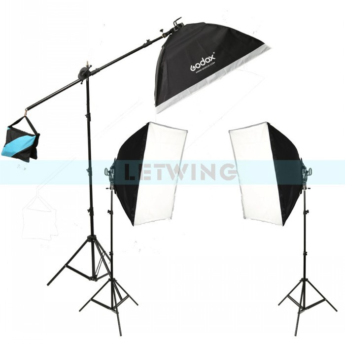 Godox TL-5 Photo Studio Continuous Light Tricolor Head Light Bulbs + Light Stand + Softbox Photography Lighting Kit