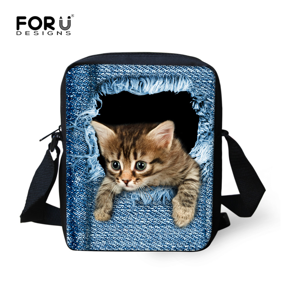 FORUDESIGNS Women Messenger Bags 3D Denim Animal Shoulder Bag Handbags Cute Cat Children Crossbody for Girls