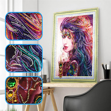 5d DIY Diamond Embroidery Special Shape Indian Beauty Embroidered Rhinestone Crystal Painting Home Decoration 40x50cm