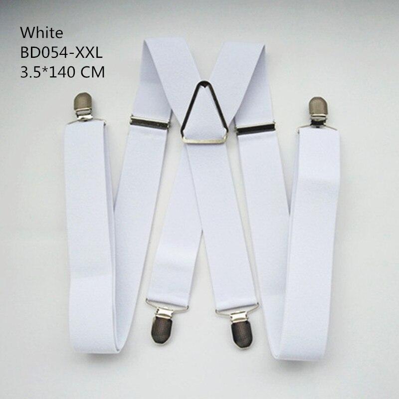 Одноцветные подтяжки унисекс для взрослых, мужские XXL, большие размеры, 3,5 см, ширина, регулируемые эластичные, 4 зажима X сзади, женские брюки, подтяжки, BD054 - Цвет: White-140cm