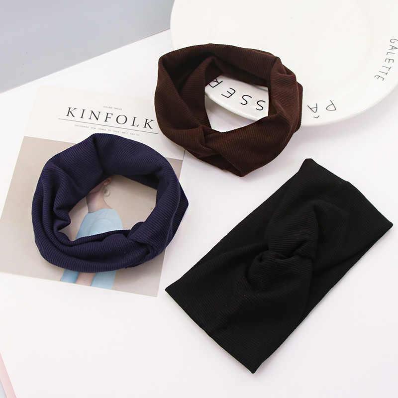 Женские цветные вязаные хлопковые теплые повязки на голову с перекрестным узлом, резинка для волос, тюрбан, головные повязки, модные аксессуары для волос