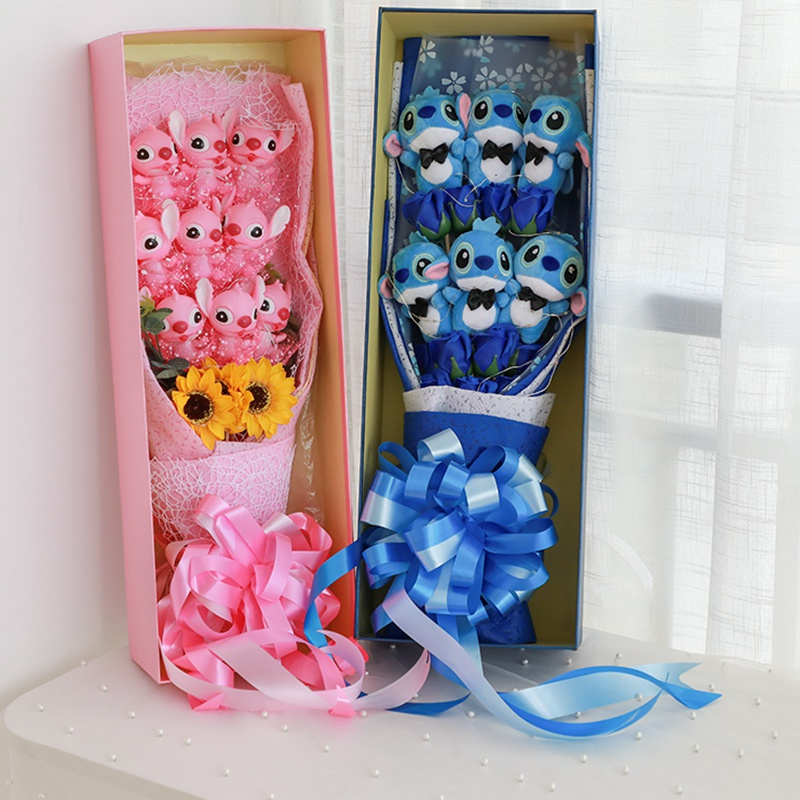 Soft Stitch Bouquet Plush Stuffed Animals Toys Artificial Kawaii Cartoon Fake Flowers Valentine's Day Gifts Wedding Decoration