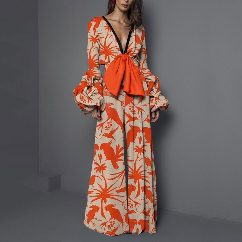 Bohemian Lantern Sleeve Flower Print Jumpsuits Sexy V-Neck Bow Tie Wide Leg Jumpsuits Fashion Ladies Floral Long Sleeve Jumpsuit