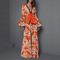 Bohemian Lantern Sleeve Flower Print Jumpsuits Sexy V Neck Bow Tie Wide Leg Jumpsuits Fashion Ladies Floral Long Sleeve Jumpsuit