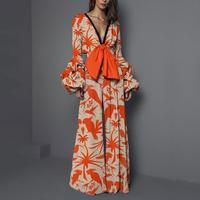 Bohemian Lantern Sleeve Flower Print Jumpsuits Sexy V Neck Bow Tie Wide Leg Jumpsuits Fashion Ladies Floral Long Sleeve Jumpsuit