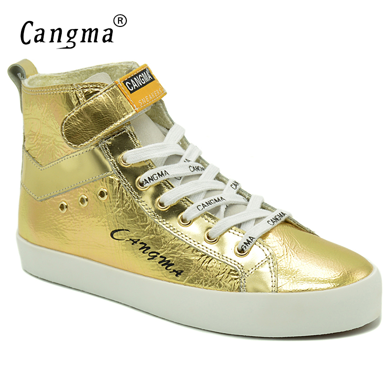CANGMA Italy Fashion Gold Shoes Women Boots Patent Genuine Leather Sneakers For Girls Ankle Boots Female Handmade Casual Shoes cangma italy deluxe brand women men casual golden shoes zebra silver genuine leather low sstar smile goose shoes zapatos mujer