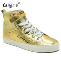 CANGMA Italy Fashion Gold Shoes Women Boots Patent Genuine Leather Sneakers  For Girls Ankle Boots Female ca5d0e229cf9