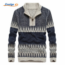 Covrlge 2017 Men's Sweaters Casual O-Neck Zipper Striped Autumn Winter Fashion Christmas Sweater Men Free Shipping M-3XL MZM008