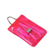 Portable Stainless Steel Nail Art Manicure Set 5 Pieces Nail Care Tools With Finger Nail Cutter File Scissor Tweezers Ear Pick